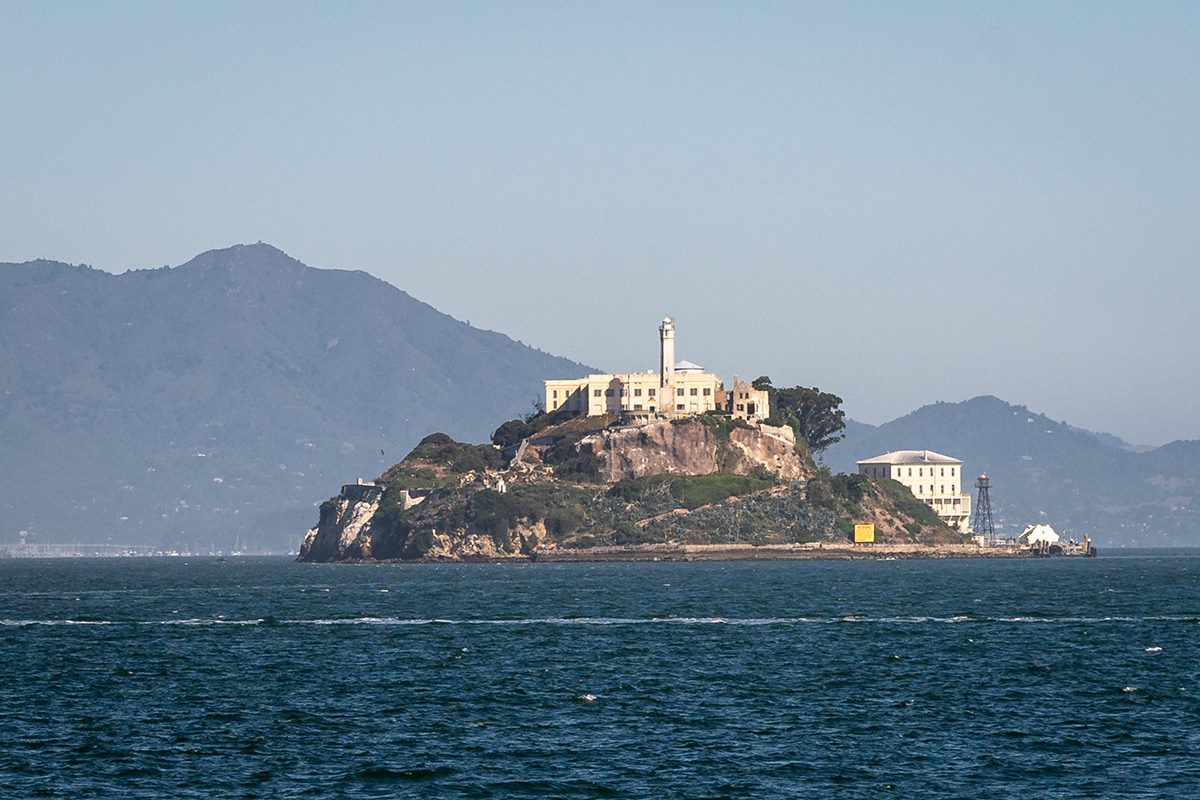 alcatraz prison shot from san francisco bay